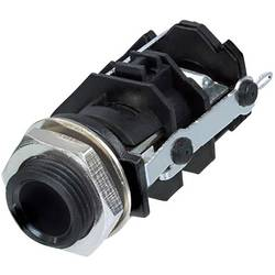 Klinken vtični konektor, 6.35 mm vtičnica, vgradna, pokončna, št. polov: 3 stereo, črne barve Rean AV RJ3VI-CON 1 kos