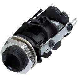 Klinken vtični konektor, 6.35 mm vtičnica, vgradna, pokončna, št. polov: 3 stereo, črne barve Rean AV RJ3VI-D1-CON 1 kos