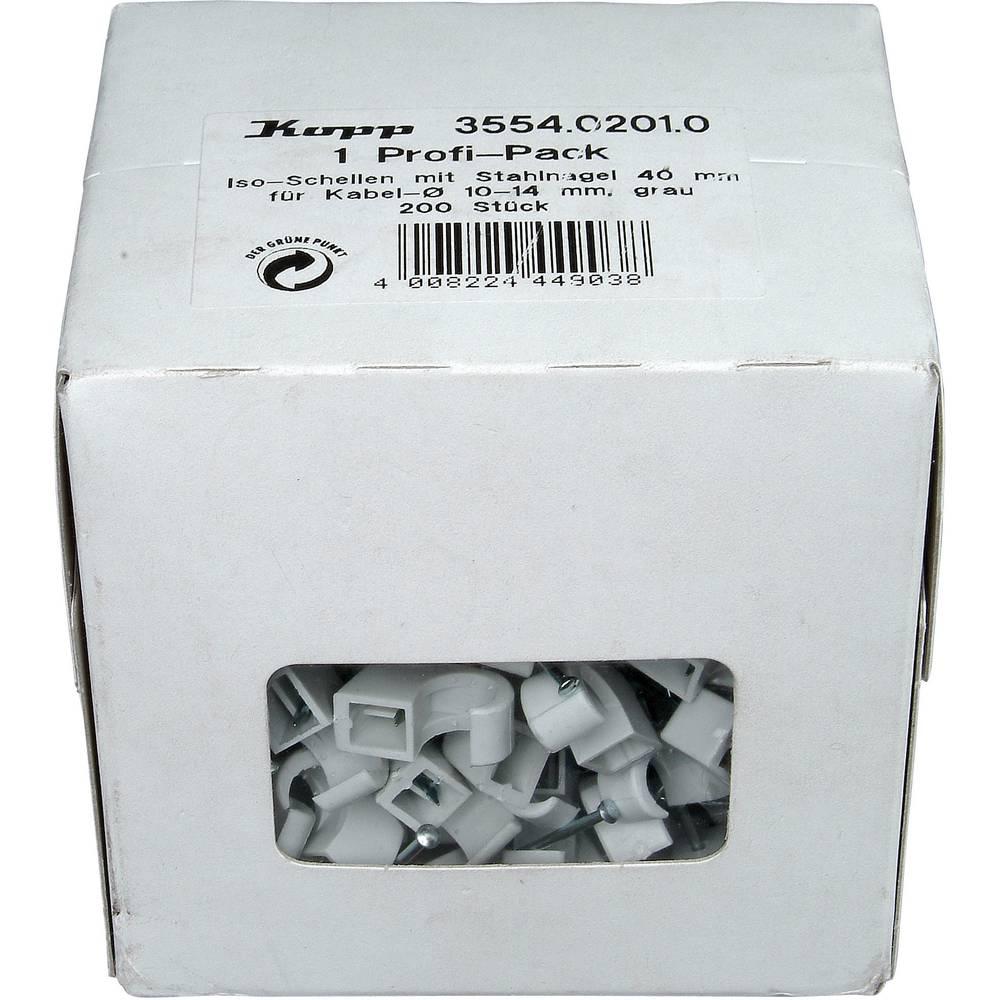 Komplet držača kabla s čavlom 355402010 Kopp 10 - 14 mm siva sadržaj: 200 kom.