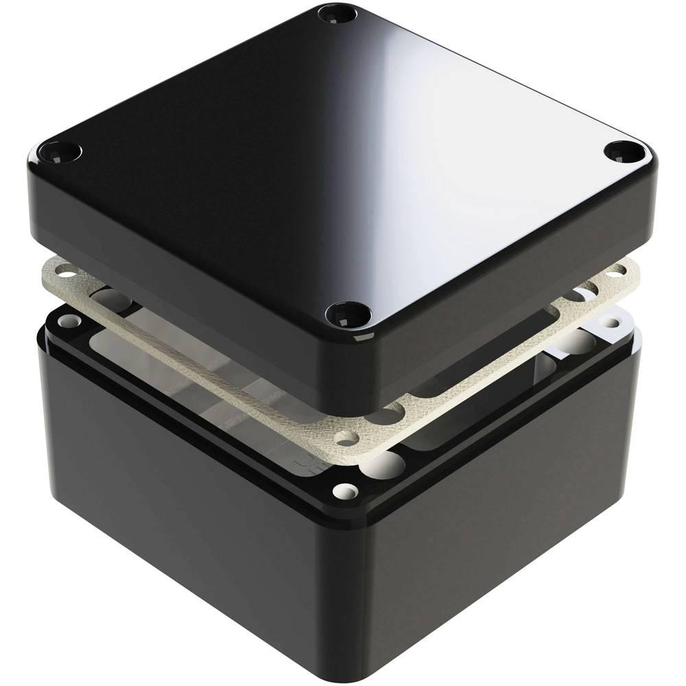 Universalkabinet 125 x 125 x 80 Aluminium Sort Deltron Enclosures 487-121208E-68 1 stk