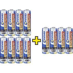 Mignon (AA)-akumulator NiMH Conrad energy HR06 2 + 1 gratis 2750 mAh 1.2 V 12 St.