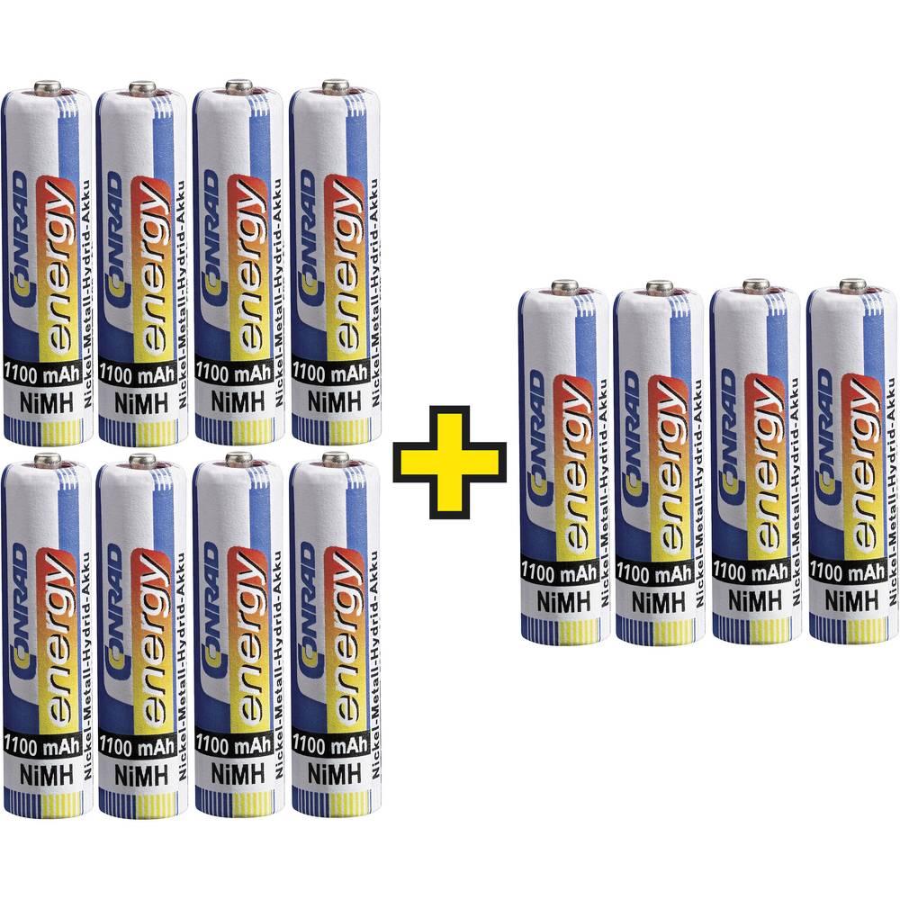 Micro (AAA)-Akumulator NiMH Conrad energy 1100 mAh 1.2 V 12 kosov