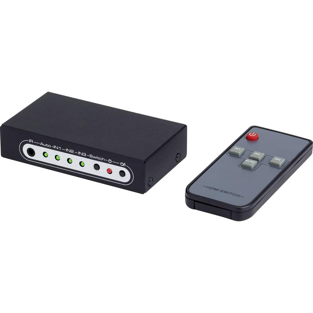 HDMI preklopnik SpeaKa Professional s daljinskim upravljačem, 3 Port Ultra HD sposoban 3840 x 2160 piksela