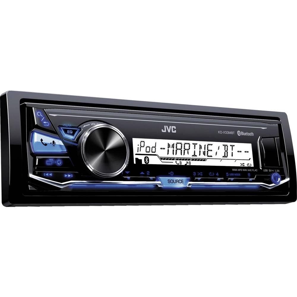 Bilradio JVC KD-X33MBTE Stænkvandsbeskyttet, Tilslutning til ratbetjening, Håndfrit Bluetooth®-system