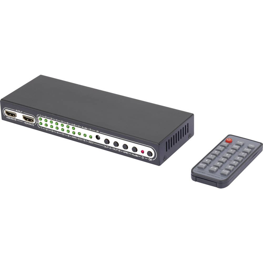 6 Port HDMI-Matrix-Switch SpeaKa Professional s slika v sliki funkcijo in daljinskim upravljalnikom 3840 x 2160 pikslov