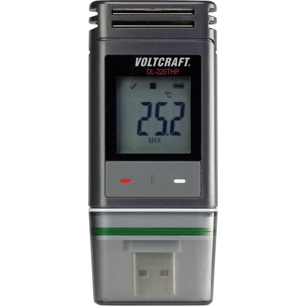 Temperatur-datalogger, Fukt-datalogger, Lufttryck-datalogger VOLTCRAFT DL-220THP -30 till +60 °C 0 till 100 % r. 300 - 1200 hPa