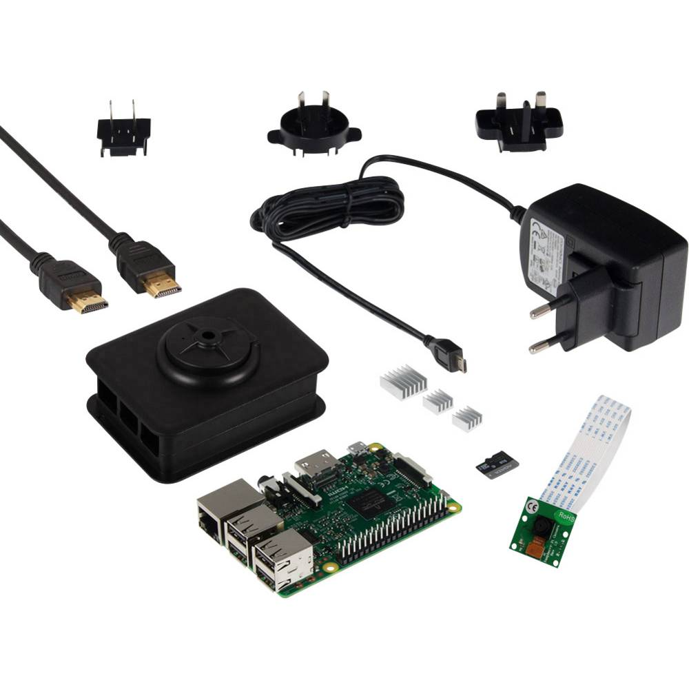 Raspberry Pi® 3 model B set za kameru 1 GB Noobs uklj. strujni adapter, uklj. softver, uklj. IP kamera