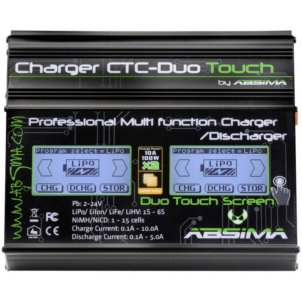 Punjač za modeliranje 110 V, 230 V 10 A Absima CTC-Duo Touch olovo, LiFe, LiIon, LiPo, NiCd, NiMH