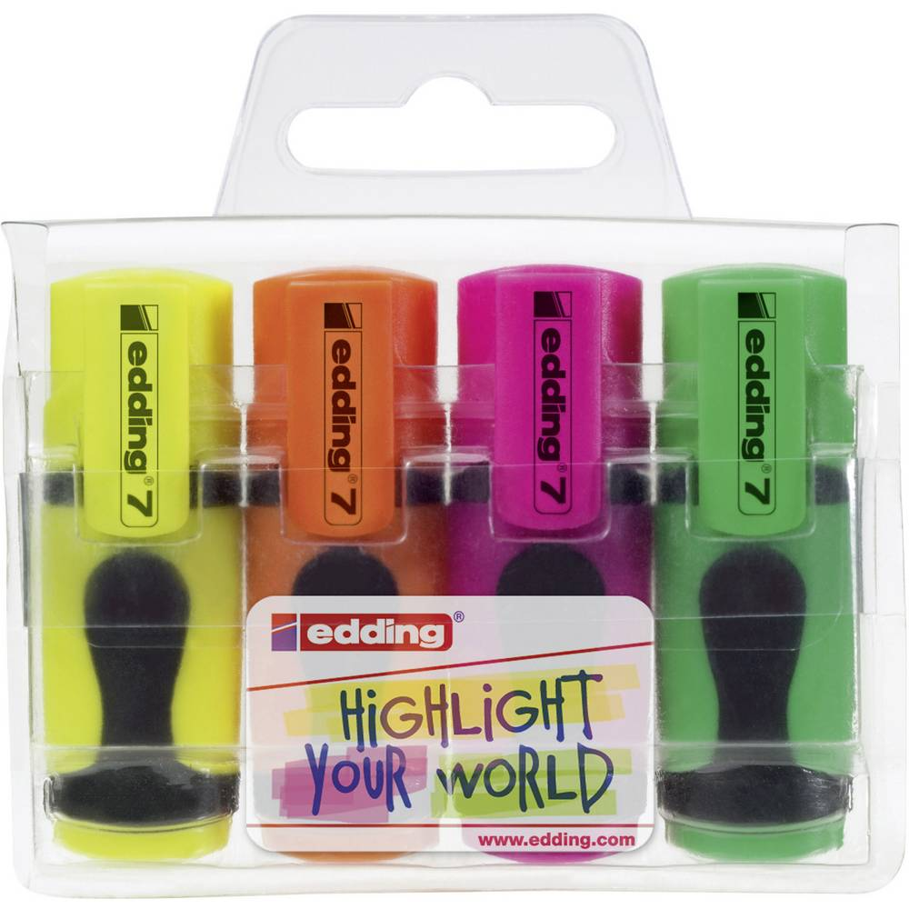 Tekstmarker Mini Edding 4-7-4 rumena, oranžna, roza, zelena ploščat 1 - 3 mm 4 kos