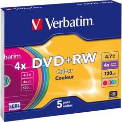 DVD+rw prazan 4.7 GB Verbatim 43297 5 St. slimcase obojeni