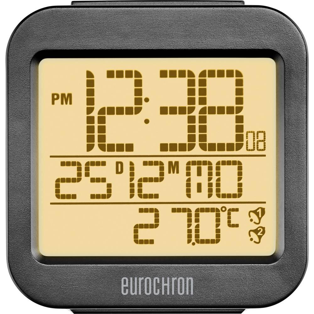 Brezžična budilka Eurochron RC130 antracitne barve število alarmov: 2