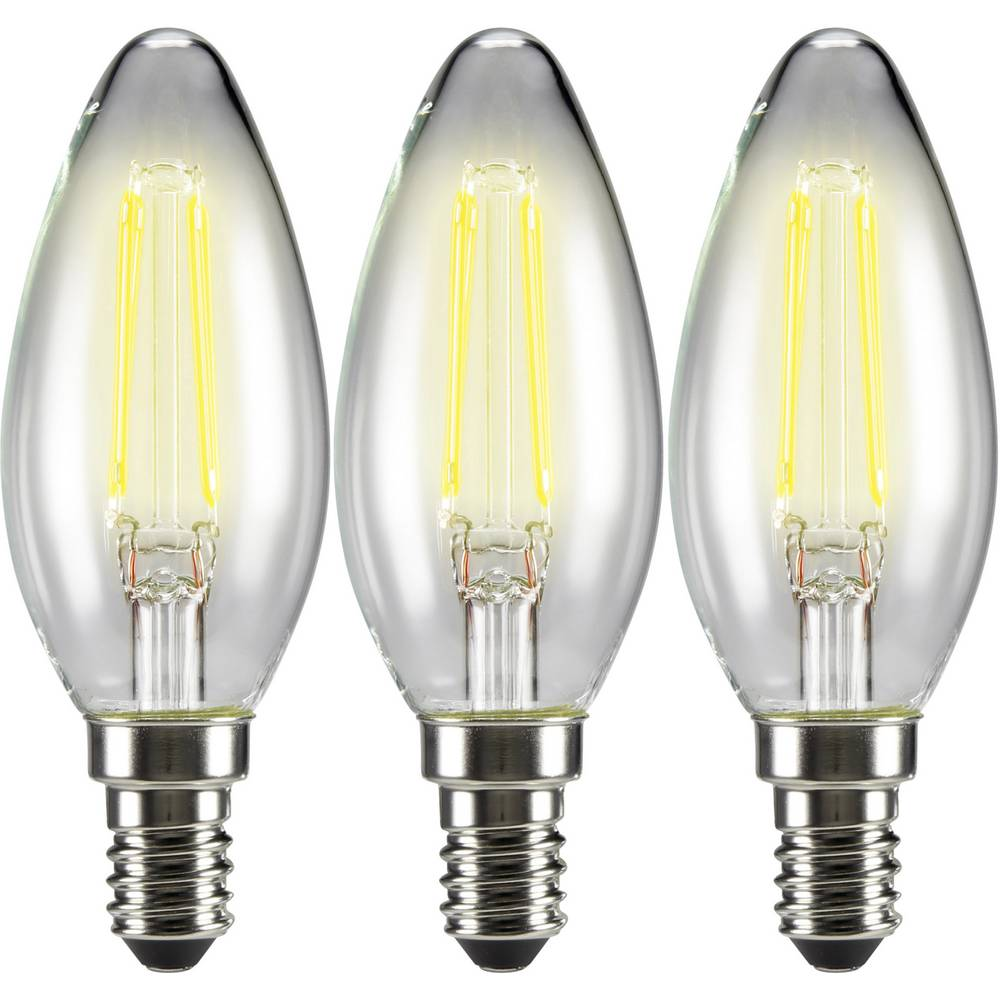 LED žarnica E14 oblika sveče 4 W = 37 W topla bela (premer x D) 35 mm x 99 mm EEK: A++ Sygonix filament 3 kosi