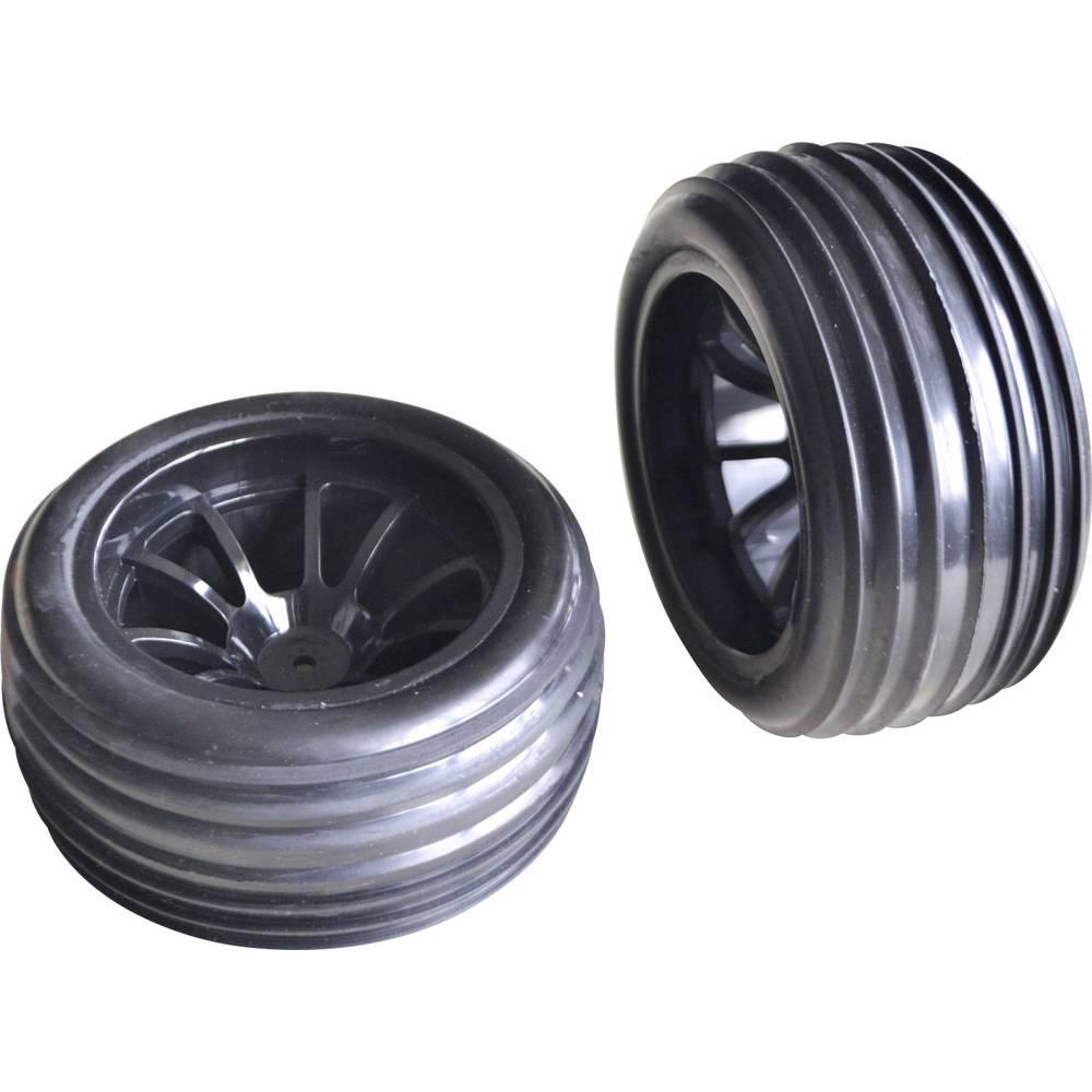 Reely 1:10 Truggy Kompletna kolesa Brazdaste pnevmatike 6 dvojnih krakov Črna 1 set