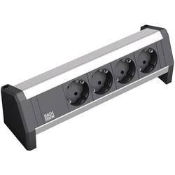 Bachmann 339.1000 DESK Alu 4x črne kontaktne vtičnice Črna, Aluminij