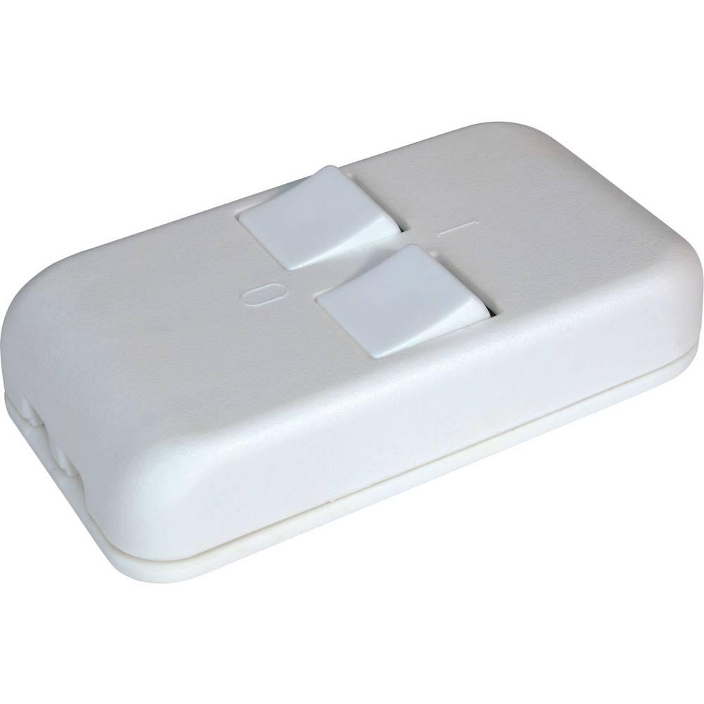 Stikalo za kabel 2-smerno bele barve 2 x izhod/vhod 3 A interBär 8057-008.01 1 kos