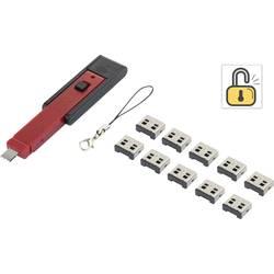 USB blokator portov vklj. z 10x USB-nastavki črne barve/rdeče barve Renkforce
