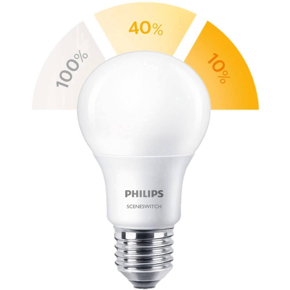 LED žarulja E27 klasičan oblik 8 W = 60 W topla bijela (promjer x D) 61 mm x 107 mm KEU: A+ Philips Lighting prigušivanje, Scene