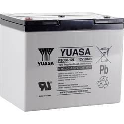 Svinčeni akumulator 12 V 80 Ah Yuasa REC80-12 YUAREC8012 Svinčevo-koprenast (Š x V x G) 259 x 212 x 168 mm M6-vijačni priklop Ni