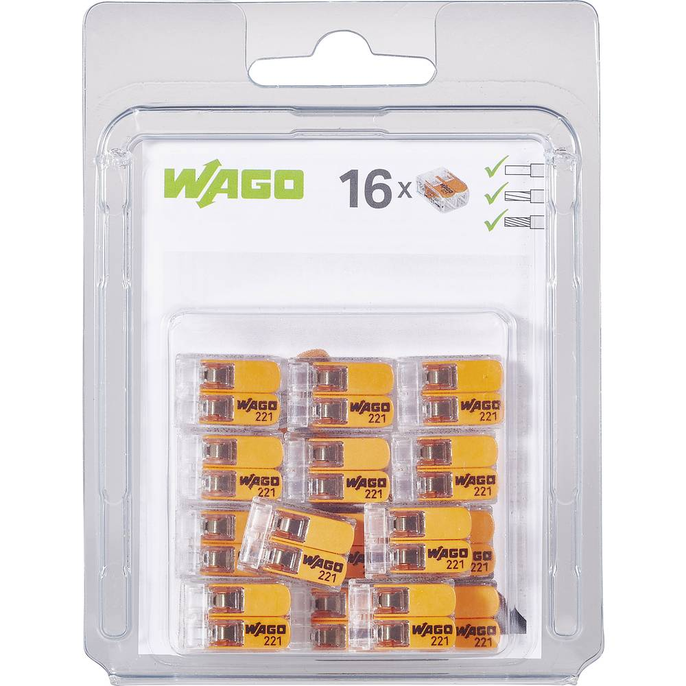 Spojna stezaljka fleks: 0.14-4 mm² krut: 0.2-4 mm² Broj polova: 2 WAGO 221-412/996-016 16 ST Prozirna, Narančasta