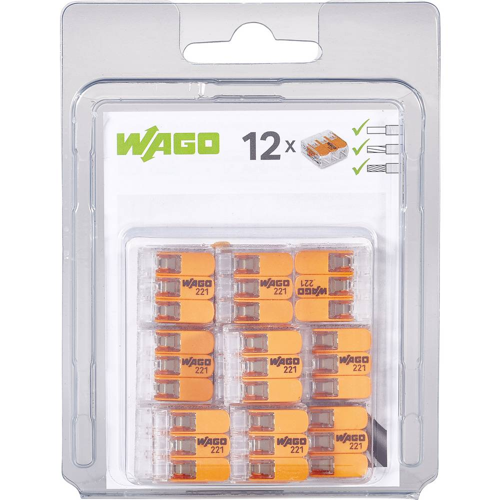 Spojna stezaljka fleks: 0.14-4 mm² krut: 0.2-4 mm² Broj polova: 3 WAGO 221-413/996-012 12 ST Prozirna, Narančasta