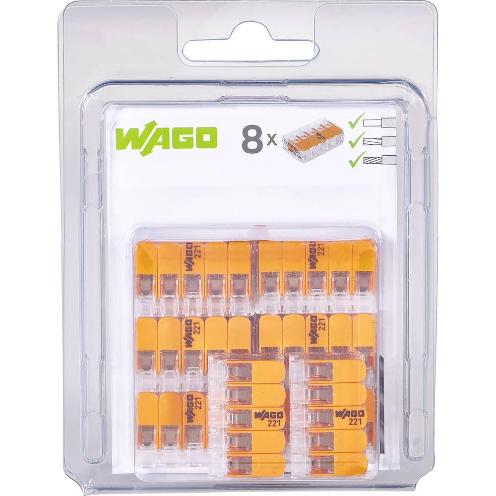 Spojna stezaljka fleks: 0.14-4 mm² krut: 0.2-4 mm² Broj polova: 5 WAGO 221-415/996-008 8 ST Prozirna, Narančasta