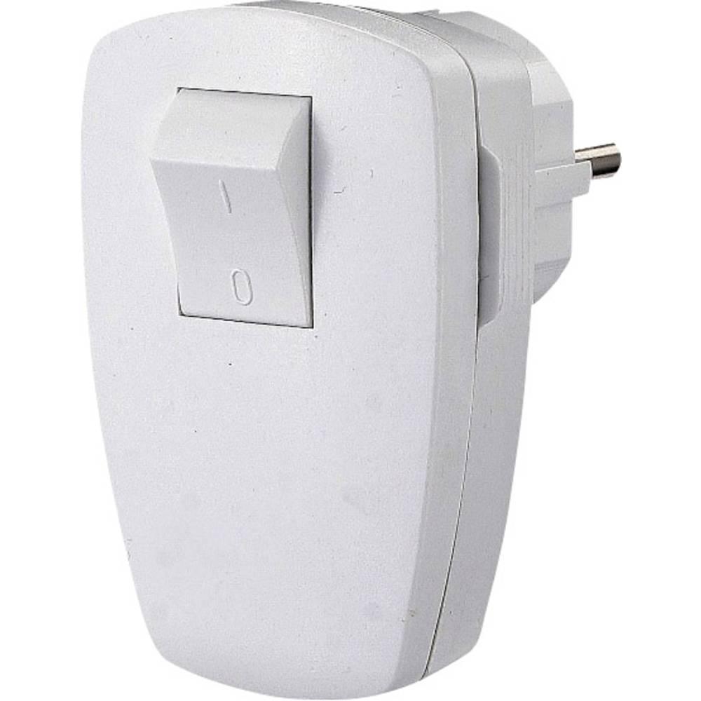 Kotni vtič iz umetne mase, s stikalom 230 V bele barve IP20 GAO EMP100SW