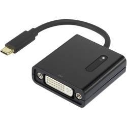 USB / DVI Adapter Renkforce [1x USB-C hane - 1x DVI-hona 24+5 pol] Svart guldpläterad kontakt
