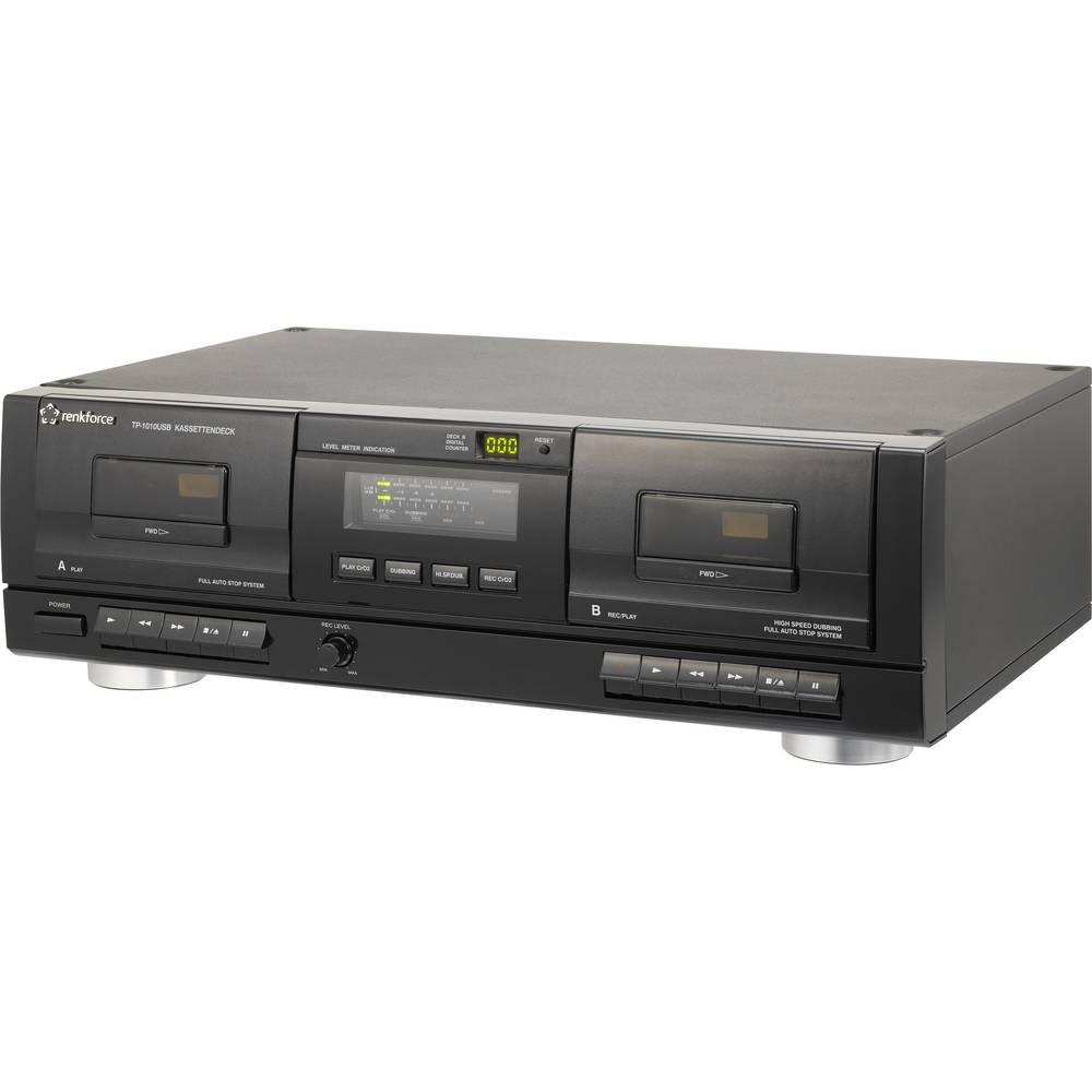 Tape Deck Renkforce TP-1010USB črne barve dvojni kasetni, USB z digitalizacijo