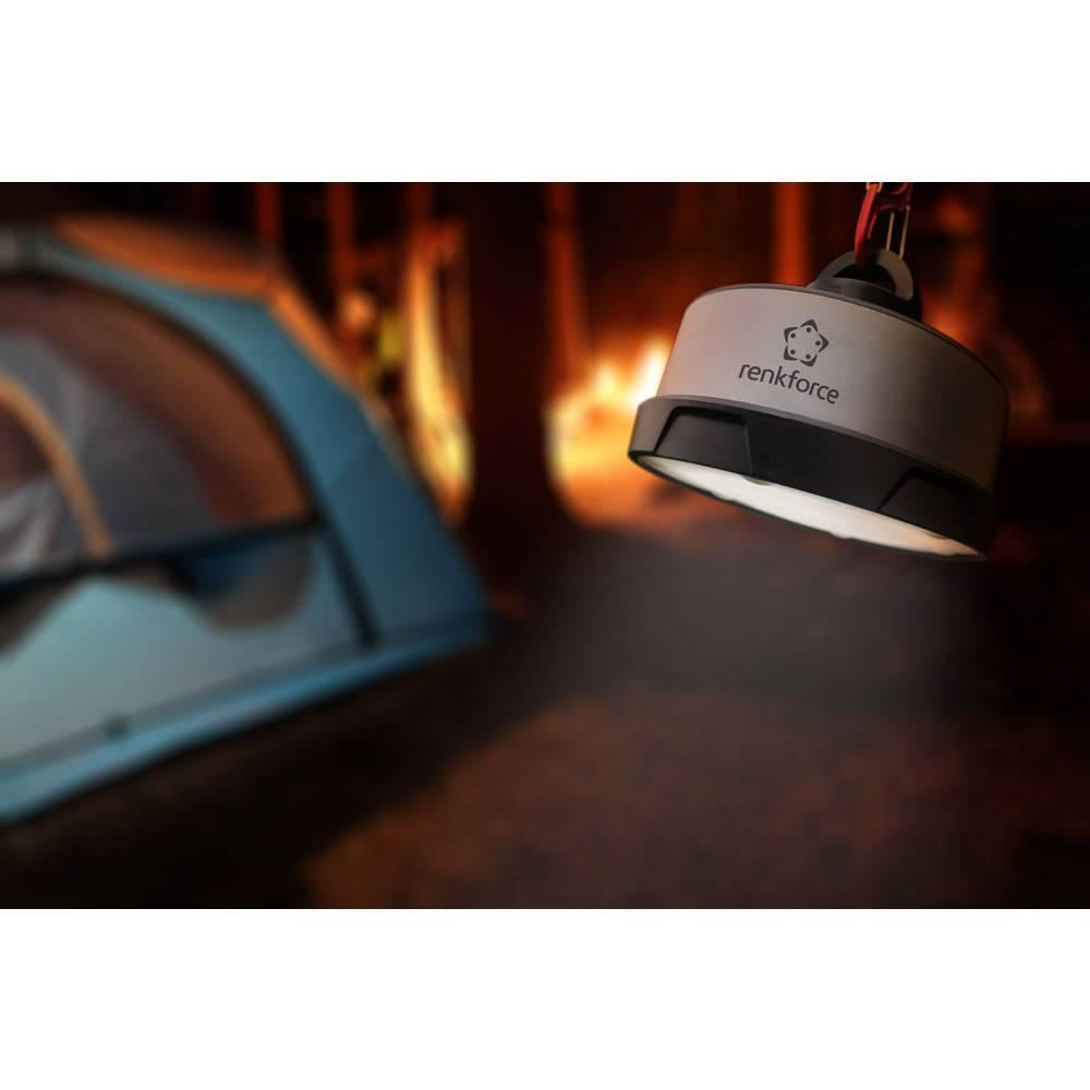 LED svetilka za kampiranje renkforce Prometheus na akumulatorski pogon 600 g črne/srebrne barve PM-100A