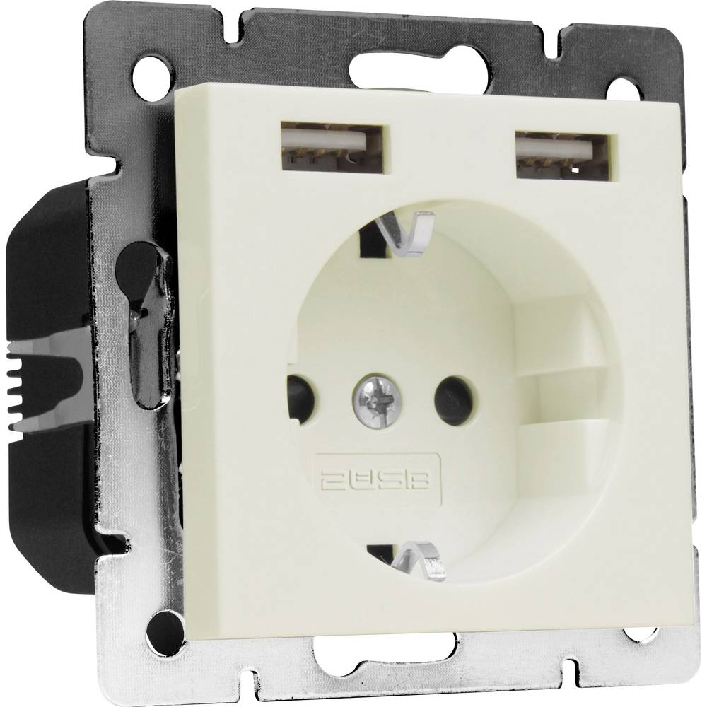 2USB 1493576 1 kratni podometna vtičnica z USB, otroška zaščita ip20 kremno bela