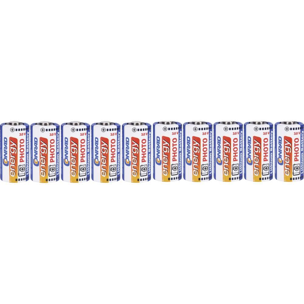 Fotobatteri CR123A Litium Conrad energy CR123 1500 mAh 3 V 10 st