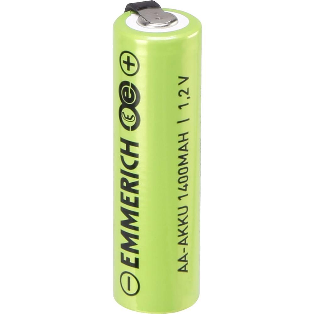 Posebna akumulatorska baterija Mignon (AA) U-spajkalni priključek, odporna na visoki tok NiMH Emmerich AA ULF 1.2 V 1400 mAh