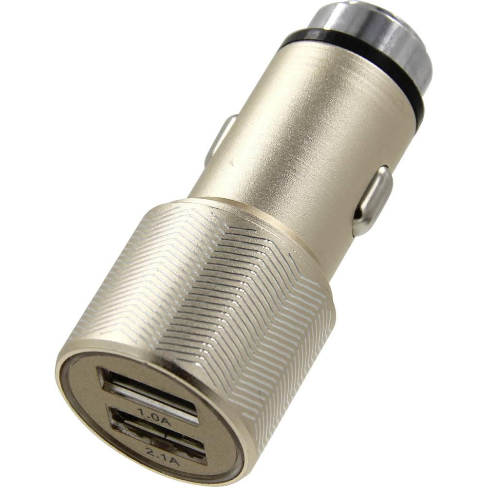 ACE Kfz-Ladegerät mit 2 USB-Anschlüssen & Nothammerfunktion Metallic-Schwarz 12 V til 5 V, 24 V til 5 V 3.1 A Cigarettænder-stik