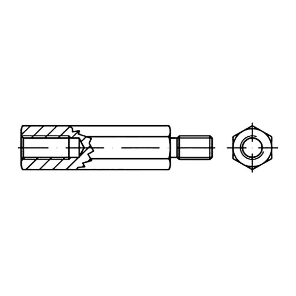 TOOLCRAFT šesterokutni svornjak 45 mm čelik, pocinčani M3 100 komada
