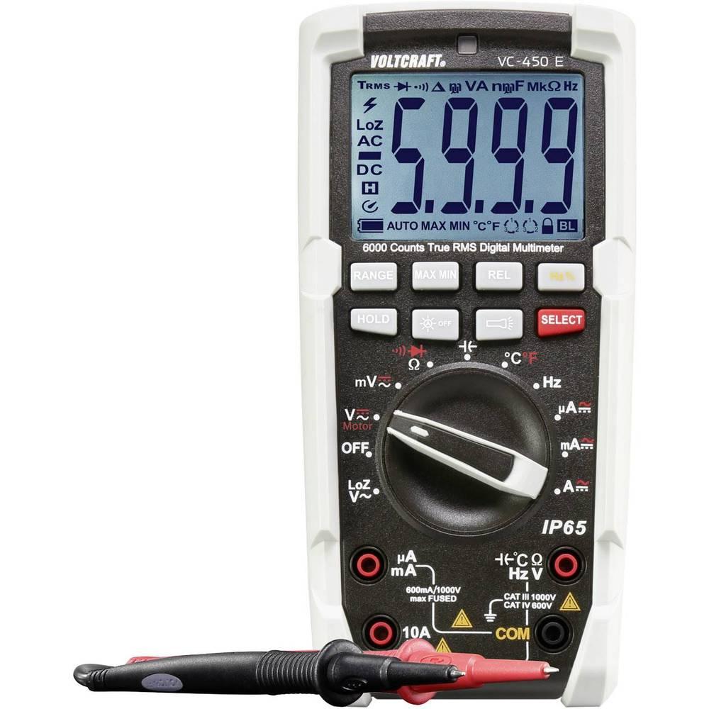 Digitalni ručni multimetar VOLTCRAFT VC-450 E Kalibriran prema: tvorničkom standardu Zaštićen od mlaza vode (IP65) CAT