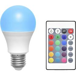 LED Glödlampsform E27 Basetech färgändring, dimbar, inkl. fjärrkontroll 6 W 70 lm A RGBW 1 st