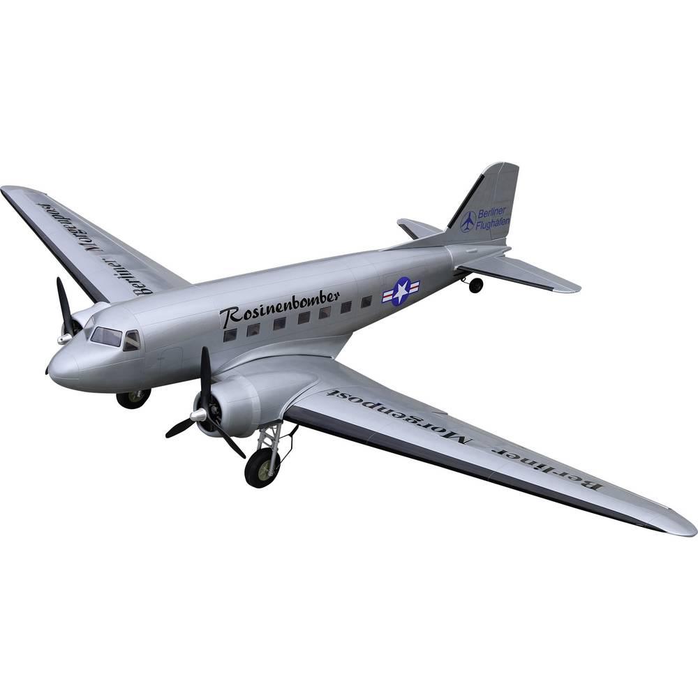 VQ Douglas DC-3 srebrna RC model motornega letala ARF 1800 mm