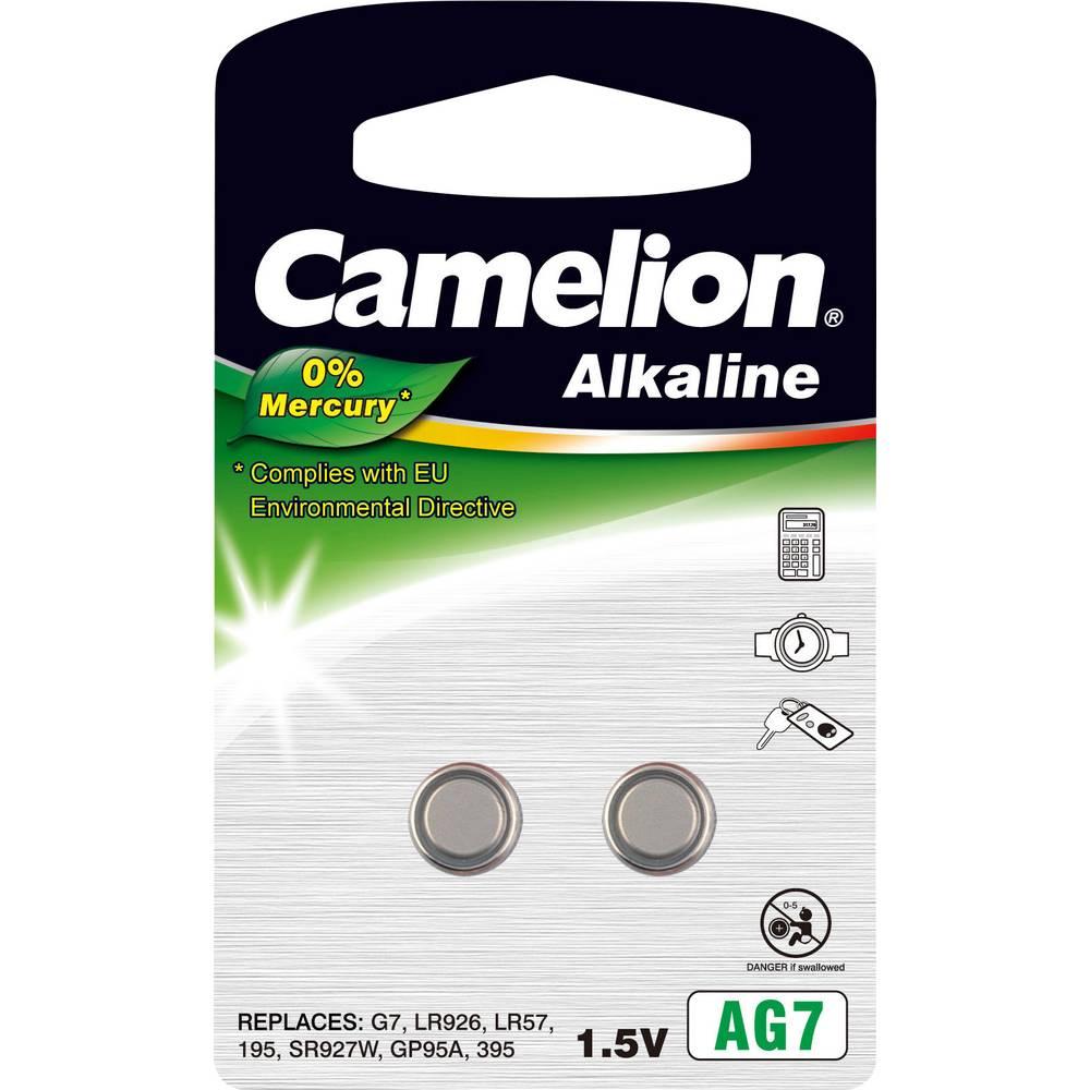 Gumbna baterija LR 57 alkalij-mangan Camelion AG7 45 mAh 1.5 V 2 kosa