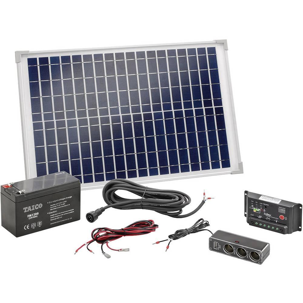 Solarni komplet Esotec 120005, 20 Wp, s akumulatorom, priključnim kabelom i regulatorom punjenja