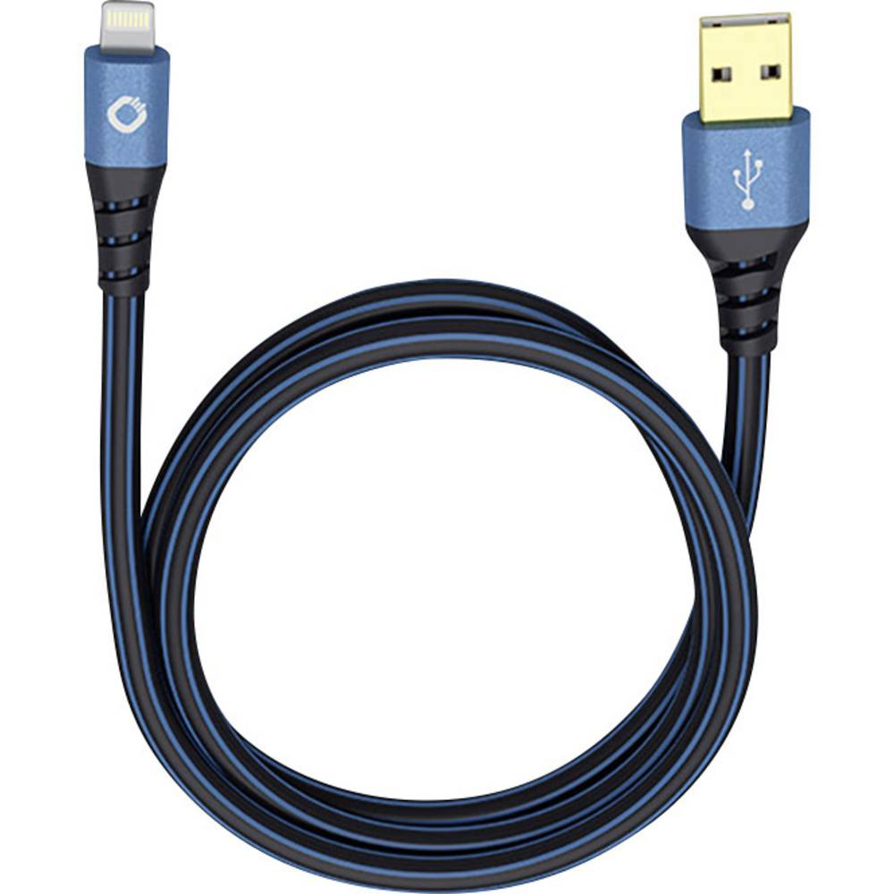 iPad/iPhone/iPod podatkovni/napajalni kabel [1x USB 2.0 vtič A - 1x vtič Apple Dock Lightning] 3 m rdeči/črni, Oehlbach USB Plus