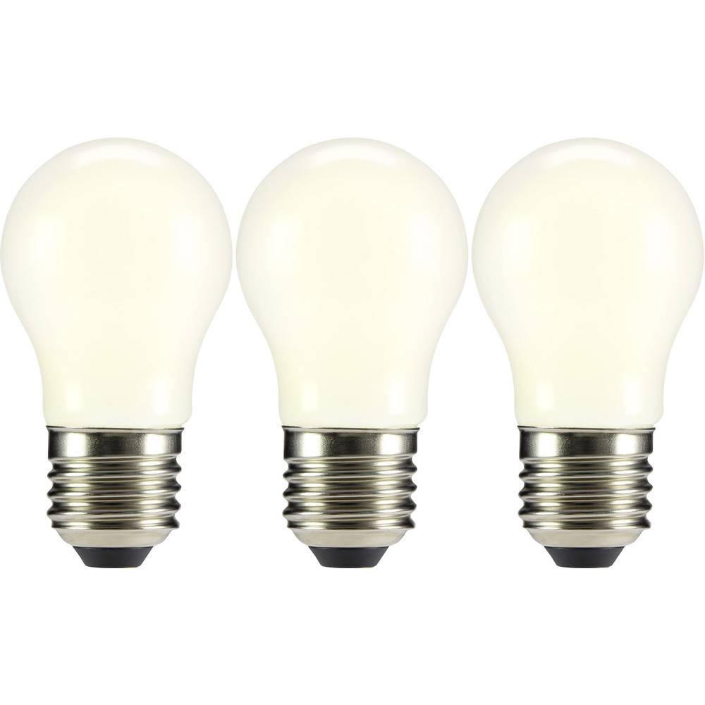 LED žarnica E27 oblika kaplje 2 W = 23 W topla bela (premer x D) 45 mm x 84 mm EEK: A++ Sygonix filament 3 kosi