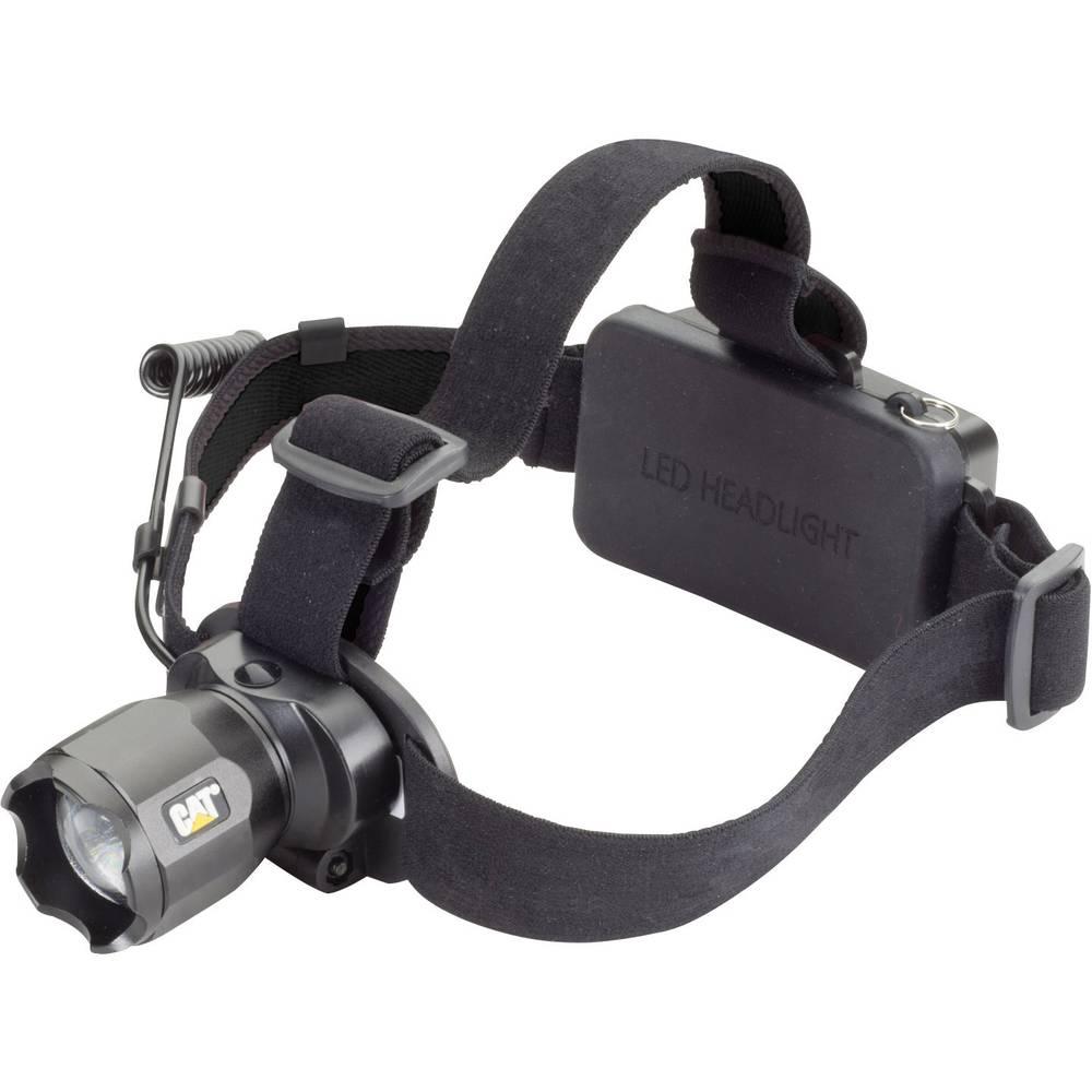 LED naglavna svetilka CAT deluje na akumulator 350 g črne barve CT4205
