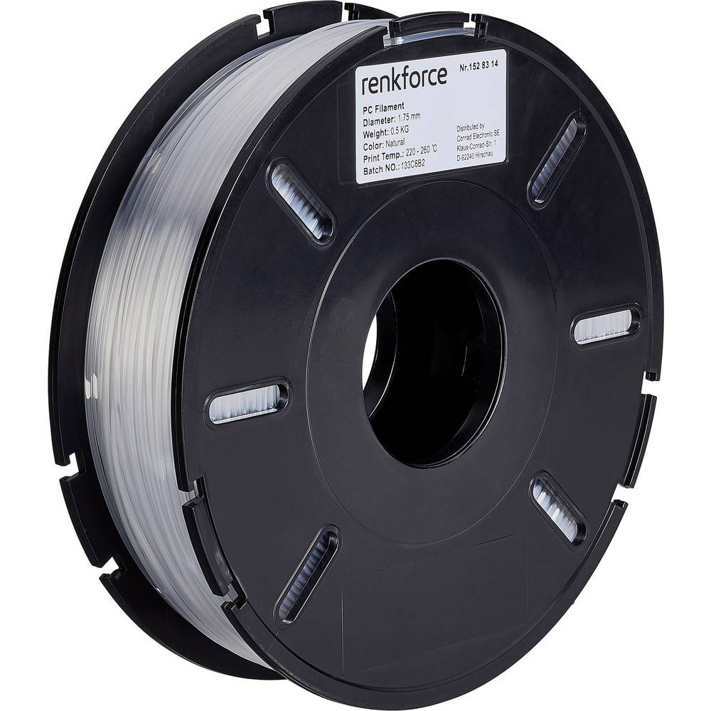 Filament Renkforce PC (polikarbonat) 1.75 mm prozorne barve 500 g