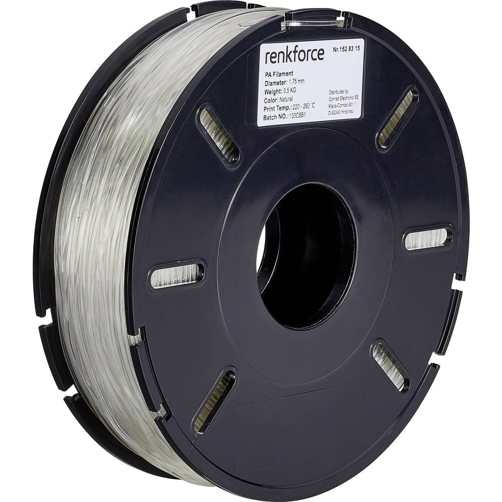 Filament Renkforce PA (poliamid) 1.75 mm prozorne barve 500 g