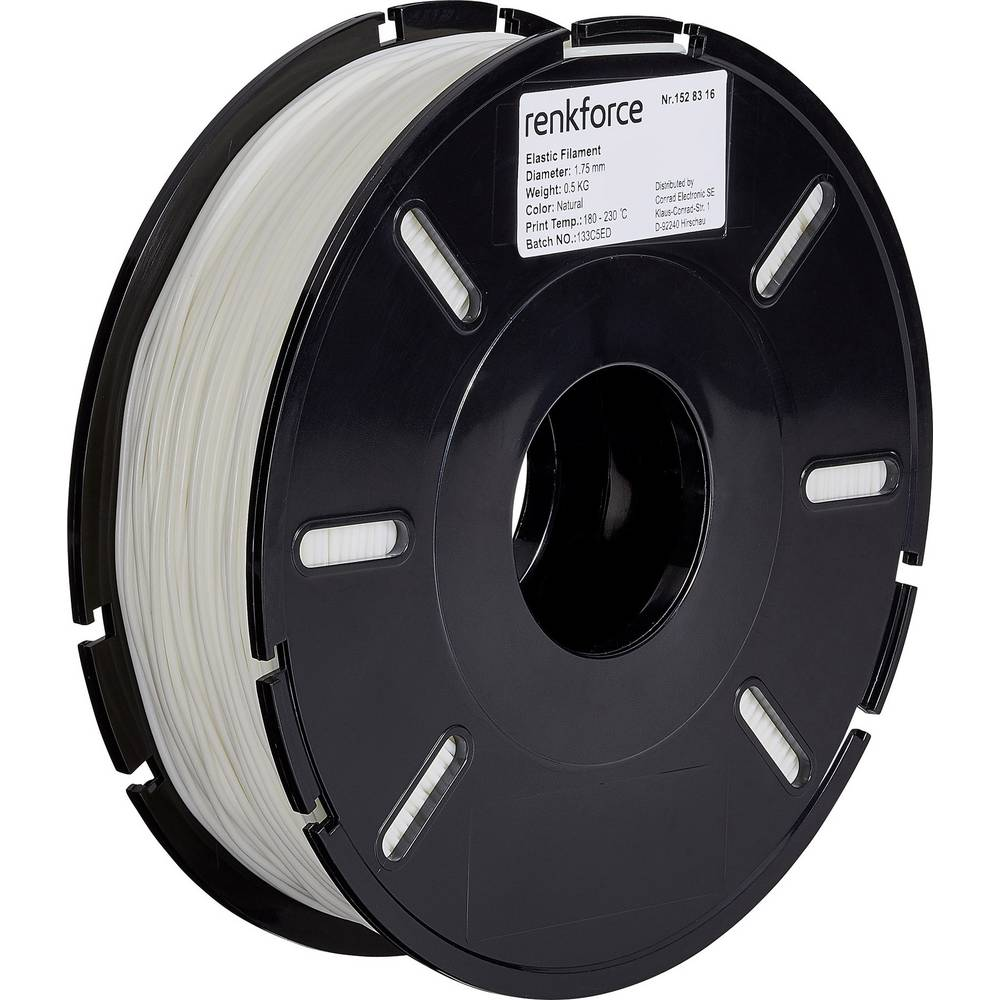 Filament Renkforce TPE polfleksibilni 1.75 mm prozorne barve 500 g