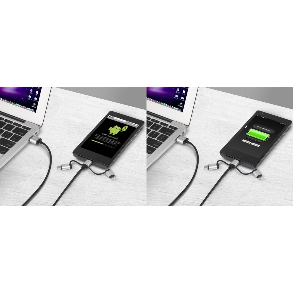 Renkforce 3-in-1 Micro-USB/Lightning/USB-C™ napajalni & sync kabel 1 m