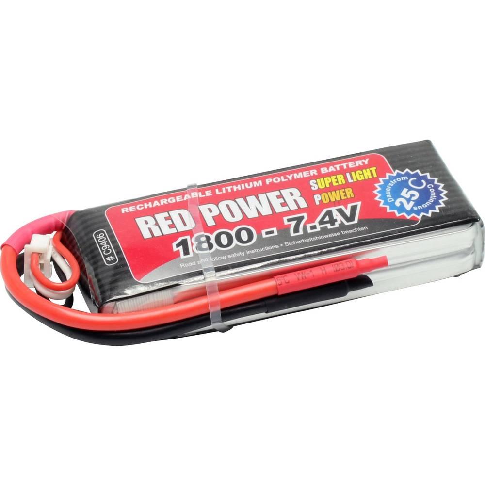 Red Power LiPo akumulatorski paket za modele 7.4 V 1800 mAh Število celic: 2 25 C Mehka torba Odprt konec kabla
