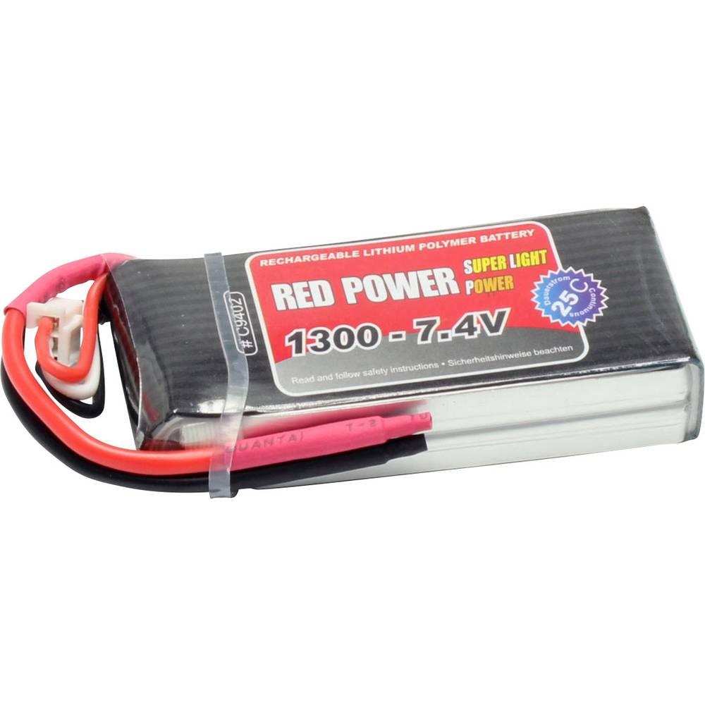 Red Power LiPo akumulatorski paket za modele 7.4 V 1300 mAh Število celic: 2 25 C Mehka torba Odprt konec kabla