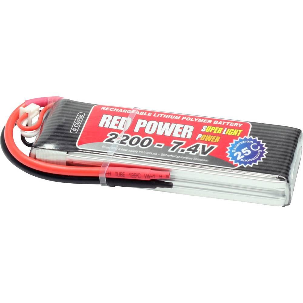 Red Power LiPo akumulatorski paket za modele 7.4 V 2200 mAh Število celic: 2 25 C Mehka torba Odprt konec kabla