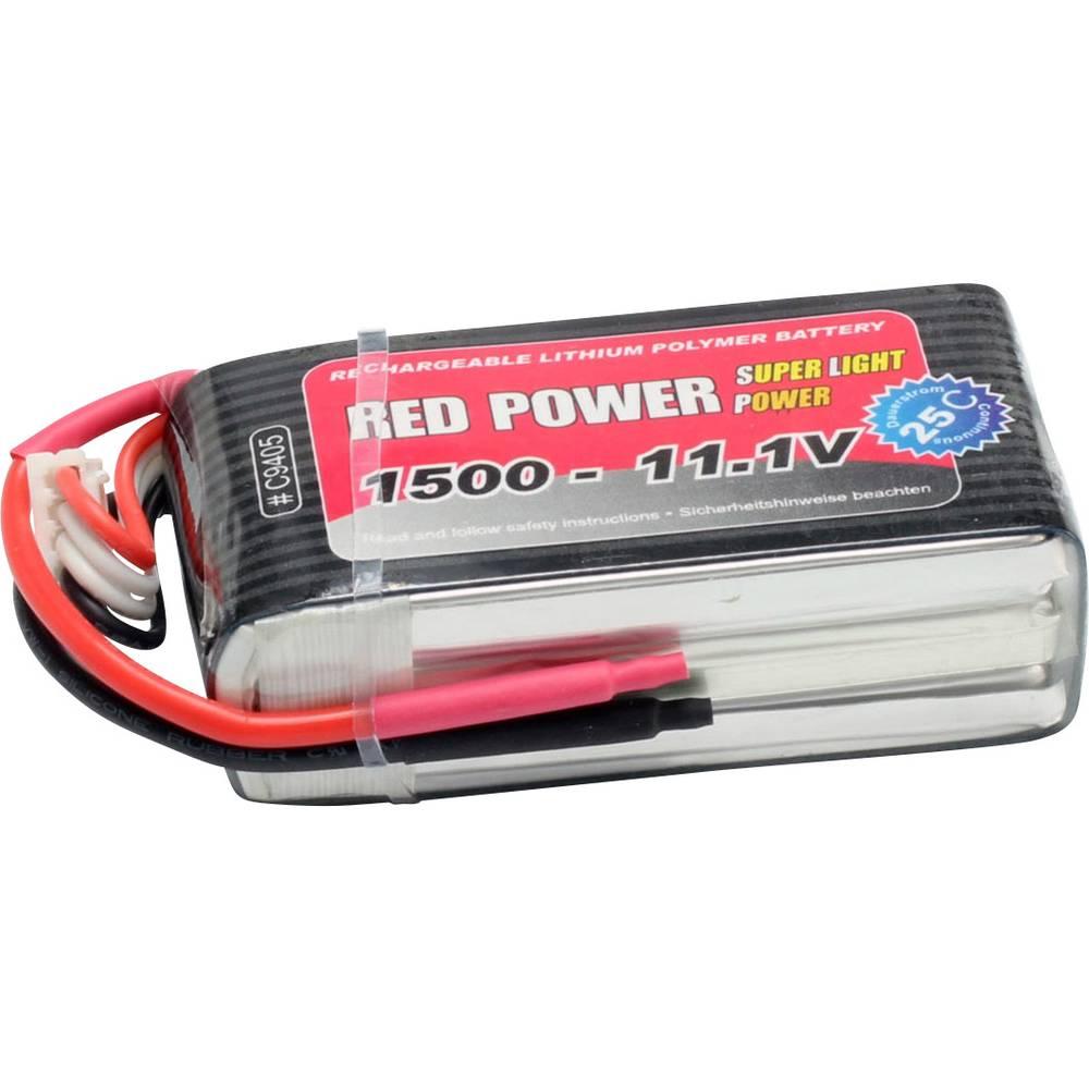 Red Power LiPo akumulatorski paket za modele 11.1 V 1500 mAh Število celic: 3 25 C Mehka torba Odprt konec kabla